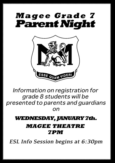 Gr 7 Parent Info Night 2015