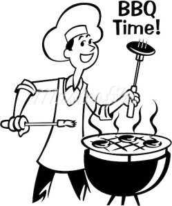 608-03473085 © Masterfile Royalty-Free Model Release: No Property Release: No A man barbecuing with the words BBQ Time! written above it