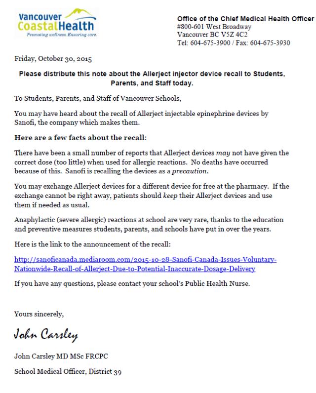 EPI Pen Coastal letter