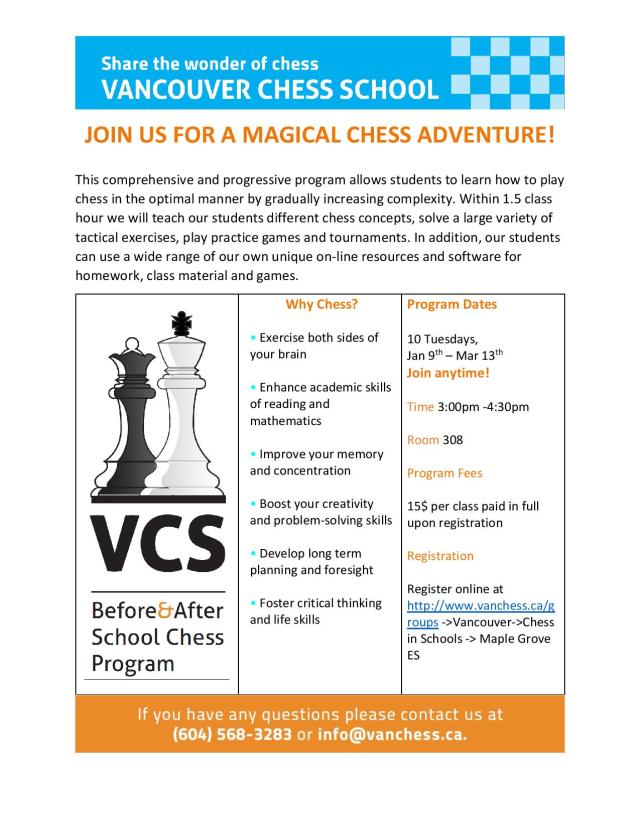 Maple Grove ES-Winter Term Chess Program