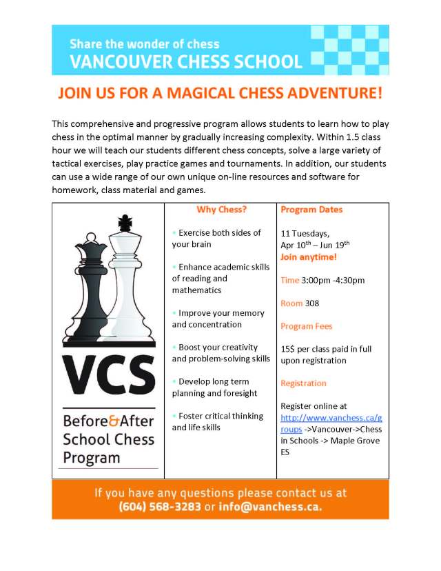 Maple Grove ES-Spring Term Chess Program