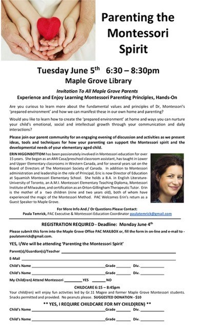 June 5th Montessori meeting