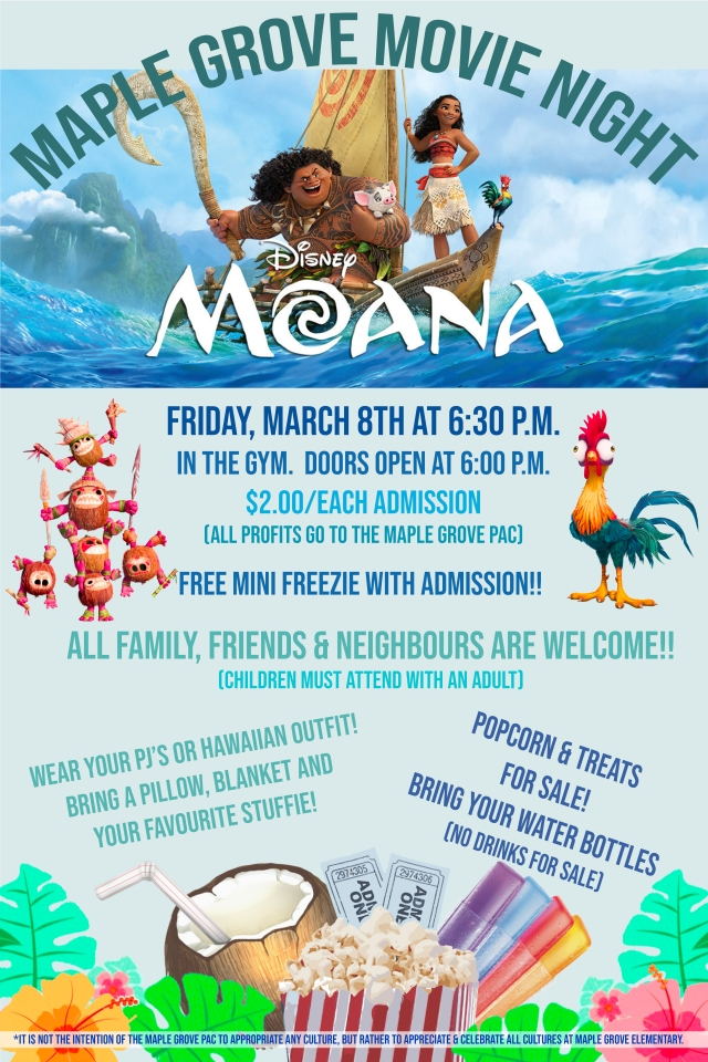 MOANA MOVIE NIGHT POSTER WITH DISCLAIMER